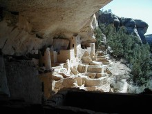 View of the famous Mesa Verde archaeological site.