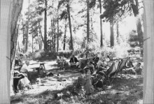 Conference participants sitting under the trees
