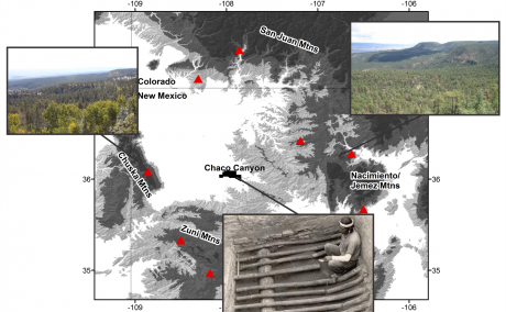 Map of Chaco Canyon and its possible wood sources