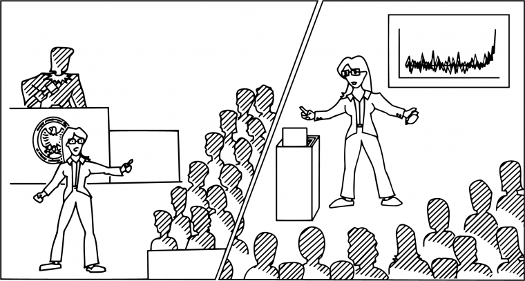 cartoon of courtroom and presentation hall