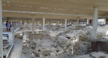 Akrotiri, Thera: the excavated remains of the Minoan town destroyed by the eruption (photo: Gretchen Gibbs).