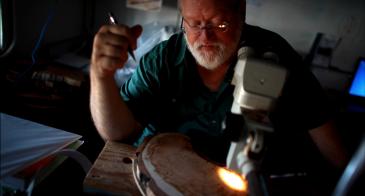 University of Arizona professor Tom Swetnam examines a tree sample at the Laboratory of Tree-Ring Research